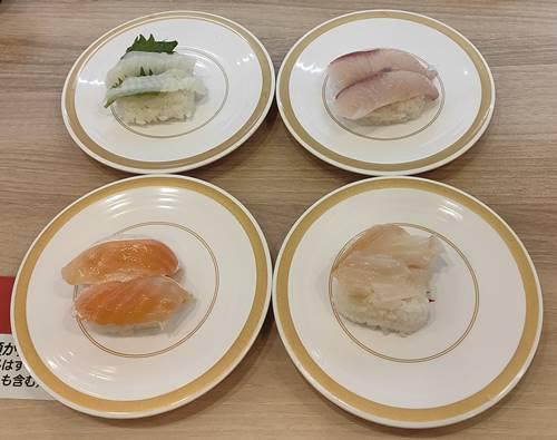 かっぱ寿司 とろサーモン,大葉のせえんがわ,活き〆寒ぶり,つぶ貝.jpg