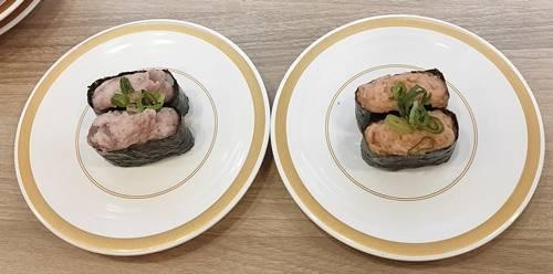 かっぱ寿司 まぐろたたき軍艦,鮭とろっ軍艦.jpg