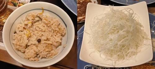 かつ丸 きのこの炊き込みご飯&キャベツの千切り.jpg
