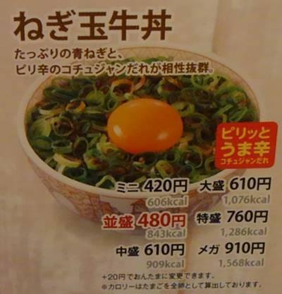 すき家 ねぎ玉牛丼 メニュー.JPG