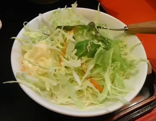 のんき スタミナチャーハン 生野菜サラダ.JPG