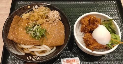はなまるうどん きつねうどん 鶏の唐揚げ丼セット.jpg