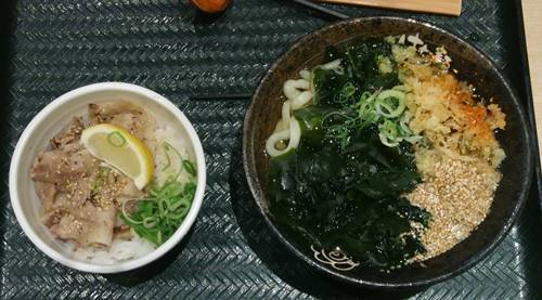 はなまるうどん わかめうどん&ミニ塩豚丼.JPG