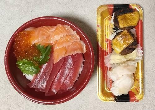 はま寿司 寿司屋のまぐろサーモン丼&つぶ貝&チーズハンバーグ.jpg