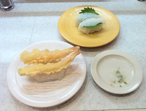 かっぱ寿司 海老天にぎり&抹茶塩.JPG