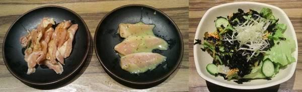 カルビ大将 わさびトントロ焼 鶏セセリ焼&焼肉屋の塩チョレギサラダ.jpg