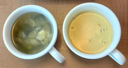 ステーキ宮 菜の花とあさりの具沢山スープ&コーンポタージュスープ.jpg