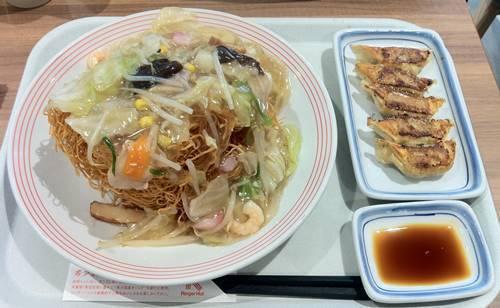 リンガーハット 皿うどん&餃子.JPG