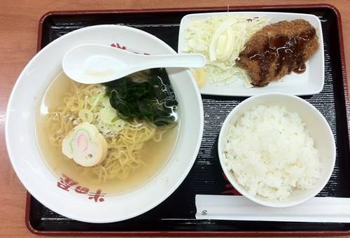 半田屋 塩らーめん&チキンカツ&ご飯.JPG