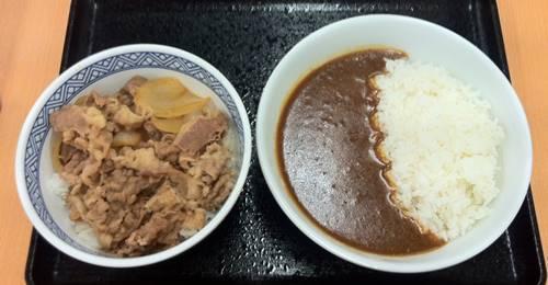 吉野家 スパイシーカレー&牛丼.JPG