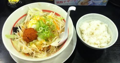 幸楽苑 台湾野菜まぜめん ライスセット.JPG