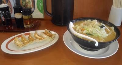 幸楽苑 味噌野菜ラーメンと餃子
