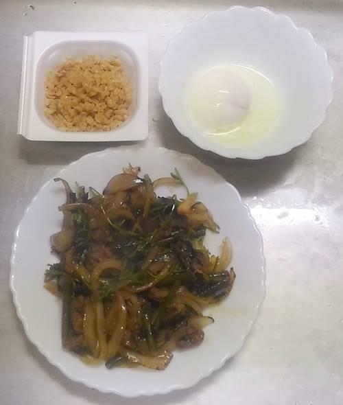 カルビ炒め 温泉卵 納豆